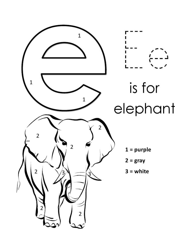 Letter E Coloring Sheets