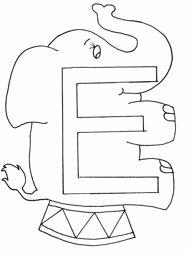 Letter E Colouring Pages