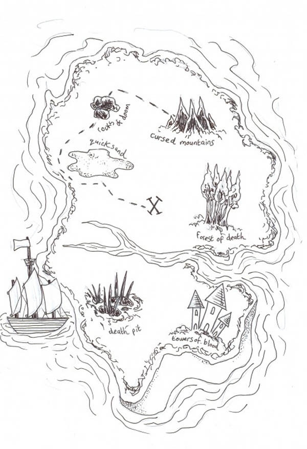 Pirate Treasure Map Colouring Pages