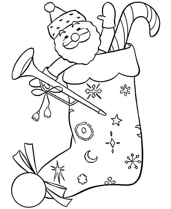 santa claus Stocking Image To Color