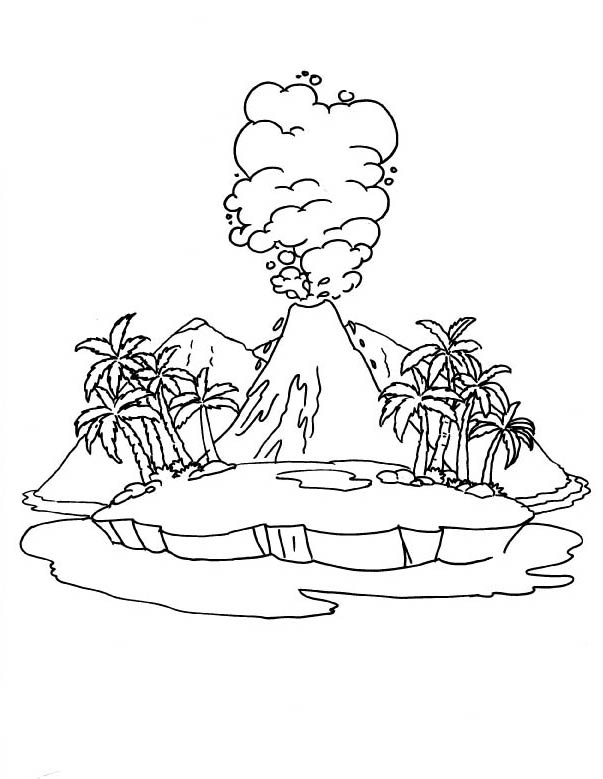 Volcano Coloring Picture