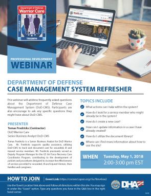 DoD Case Management Webinar Flyer