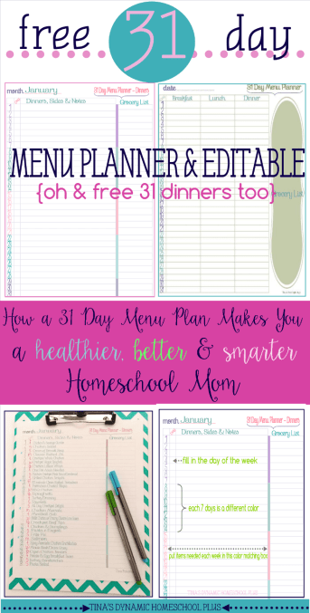 Free 31 day Menu Planner at Tina's Dynamic Homeschool Plus