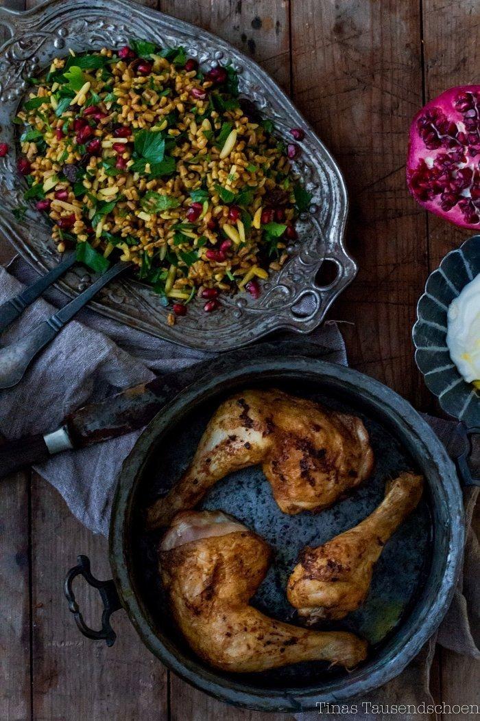 Orientalisches Hähnchen mit Dinkel Pilaf