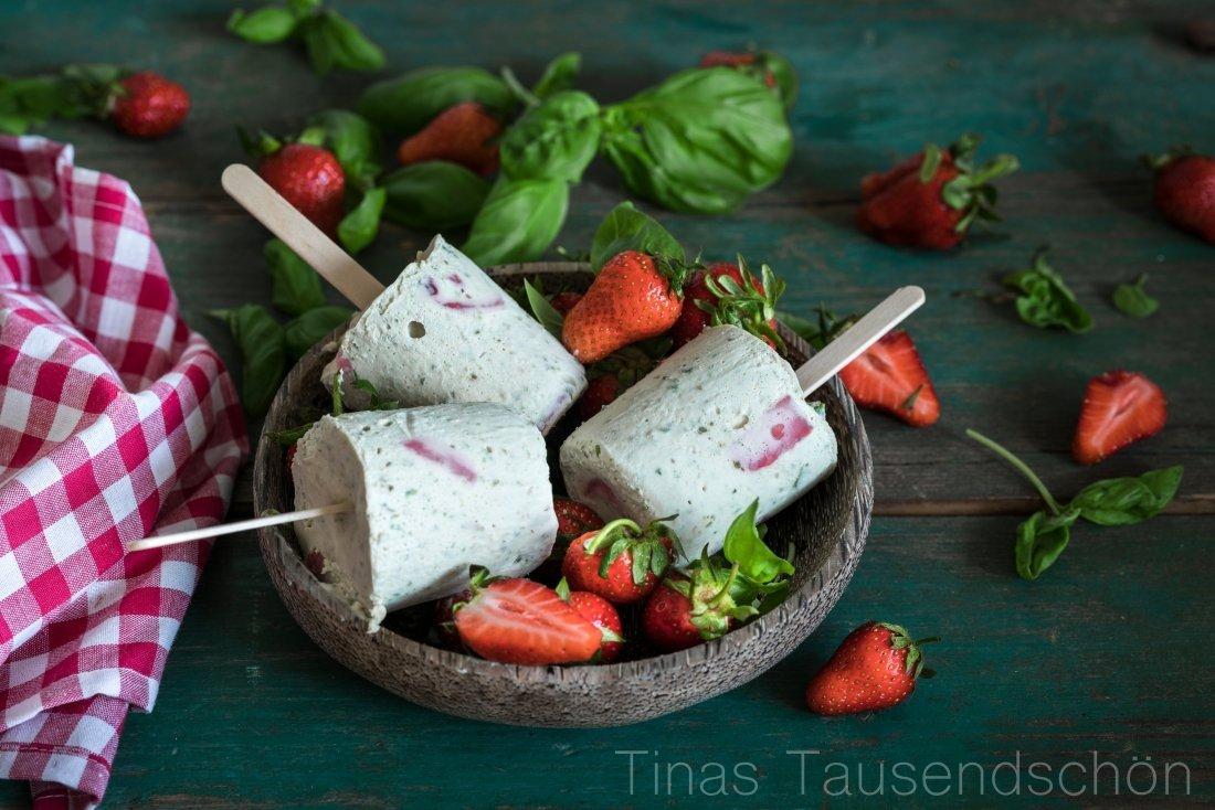 Basilikum Erdbeer Eis