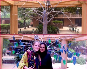 The complete installation at CanSupport Remembrance Day at Sanskriti kendra, Anandgram, held on 4 November 2012. Amy and me with our beautiful Tribute Tree bejewelled with memories and messages of love.