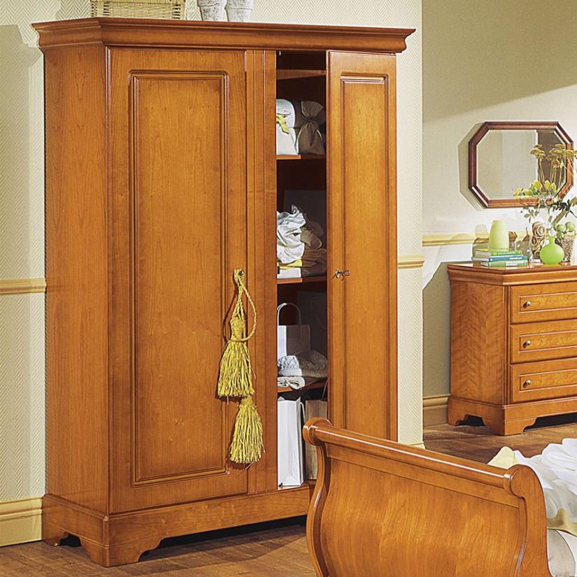 armoire louis philippe merisier 2 portes pleines battantes l136xh198xp58 5 cm tinazo