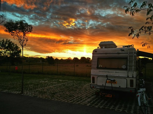 Hymer motorhome caught in sunset