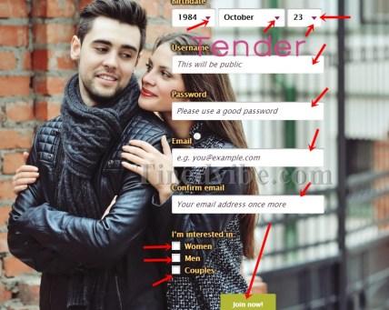 www.tender.singles - Tender Sign Up Form