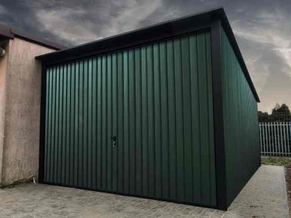Cheap steel garages for sale. 3x5 metal garage in Matt Green with Black fittings.