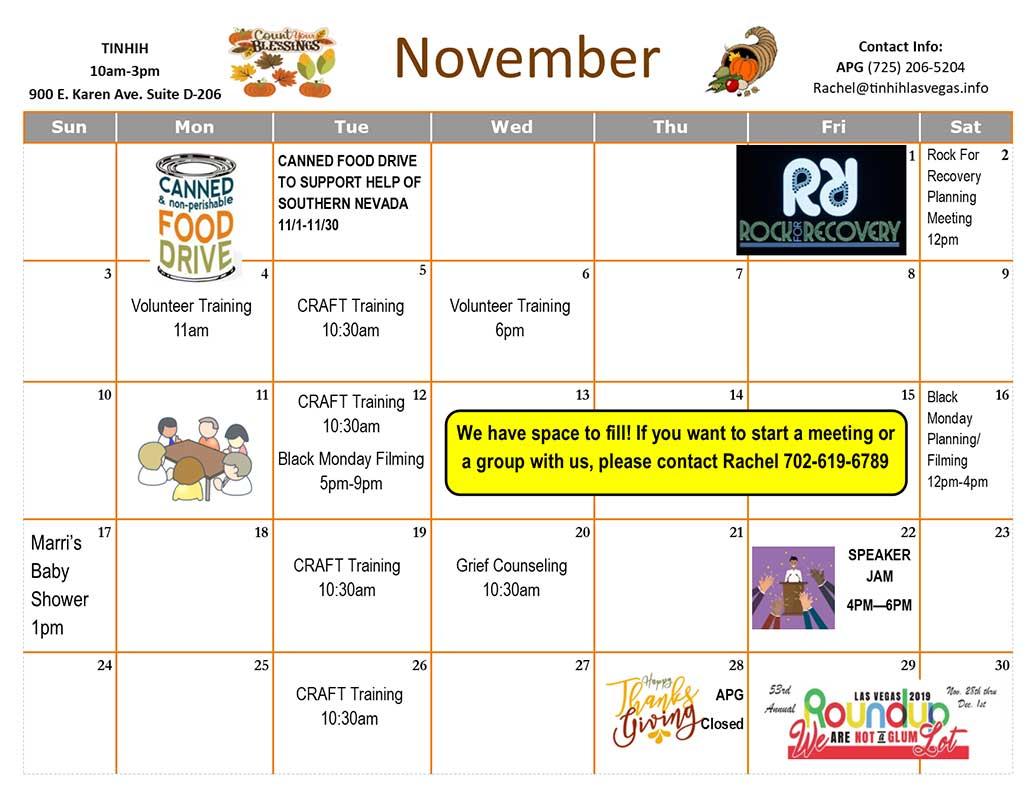TINHIH Schedule November 2019