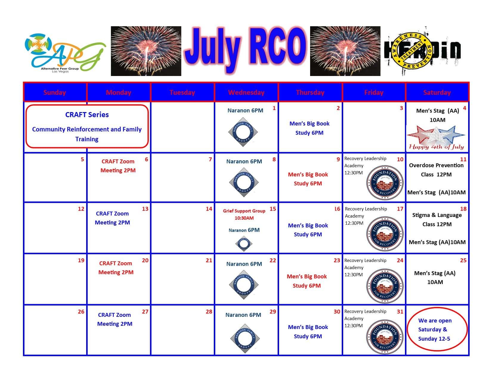 TINHIH RCO Schedule July 2020