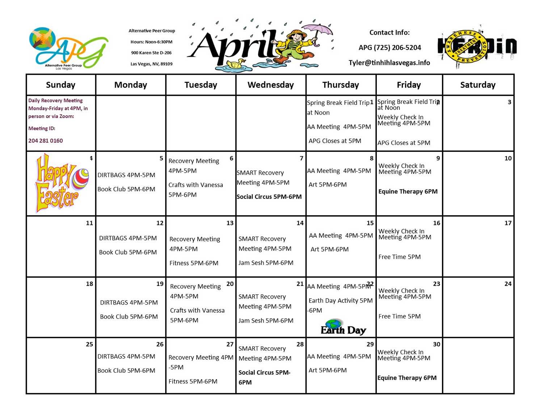 APG Schedule April 2021