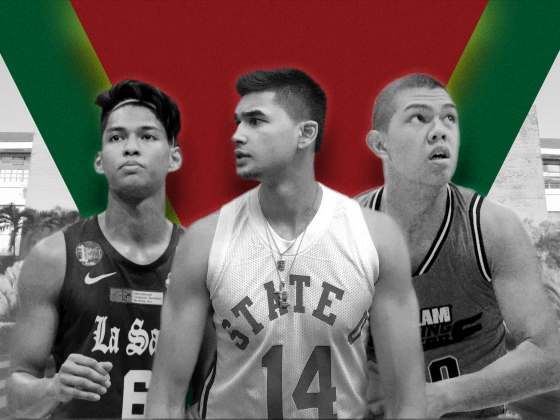 From L: Ricci Rivero, Kobe Paras, Jboy Gob. Photomontage: Paul Gumagay. Photos (from L): Athena Montes/THE LASALLIAN; Kobe Paras; Kevin Prudon/SLAM