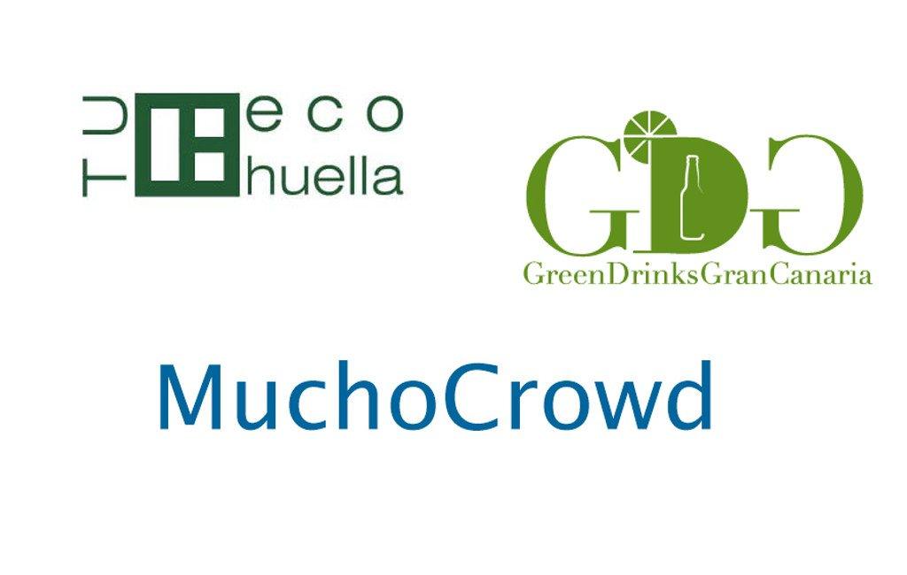Los logos de Tu eco huella, Green Drinks Gran Canaria y MuchoCrowd