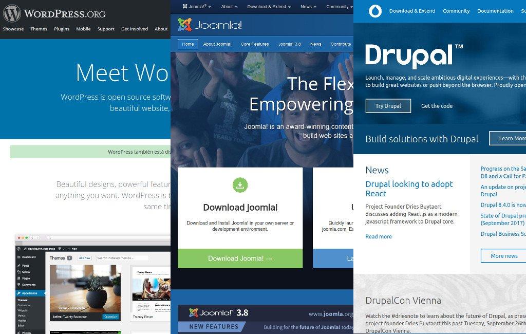 Los tres gestores de contenido más utilizados: WordPress, Joomla y Drupal