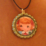 A Bottle Cap Necklace using Tin Teddy Graphics