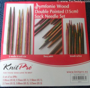 Symfonie wood double pointed sock needles set by Knit Pro