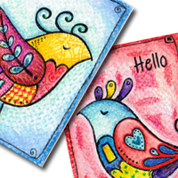 Doodled birds Artist Trading Cards © Deborah Richardson of Tin Teddy