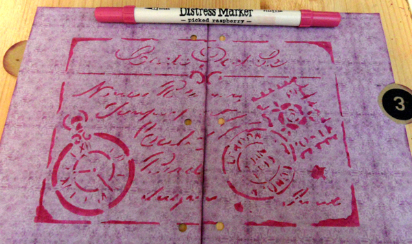 Distress marker through stencil