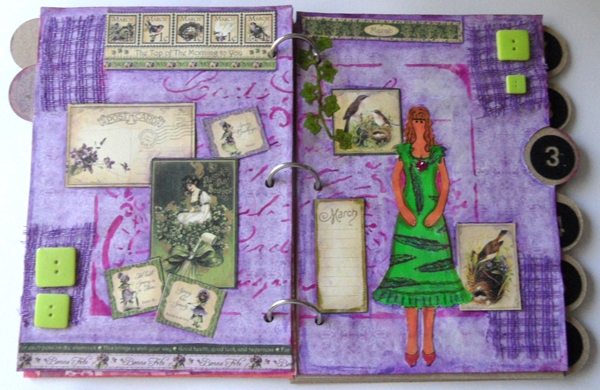 Mixed Media Paper Doll Year Book - March