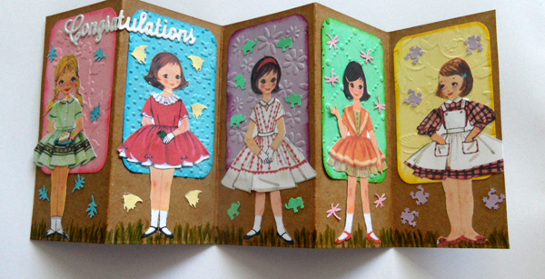 Tin Teddy Paper Dolls used on folding greetings card - tutorial on Tin Teddy Blog