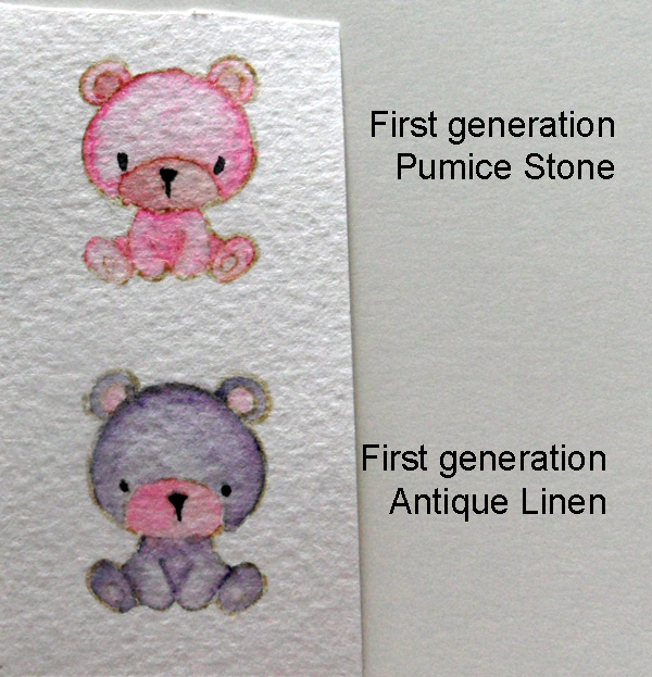 Coloured first generation stamps using light colours