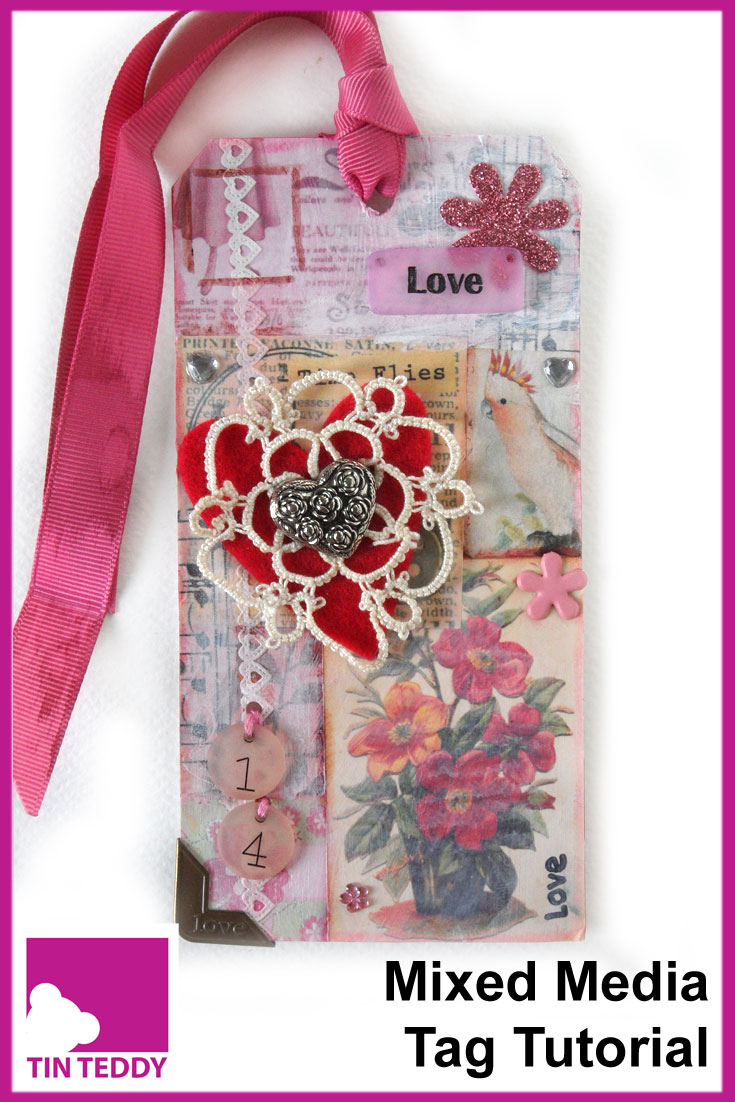 For the February instalment of the Tim Holtz 12 Tags of 2015 I have made my own version of a Vintage Valentine Tag.  Here is a tutorial on the Tin Teddy Blog.  #tagsof2015 #mixedmedia #valentinetag