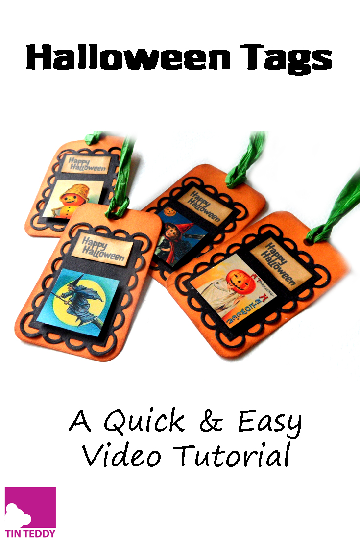 A quick and easy video tutorial to make some spooky tags for Halloween.  Featuring collage sheets from Tin Teddy.  Ideal to hang on your Halloween goodies.
