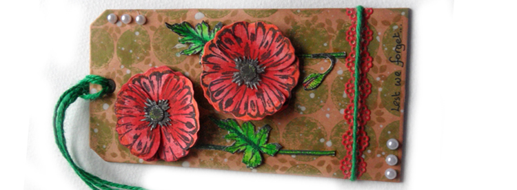 Mixed Media Poppy Tag