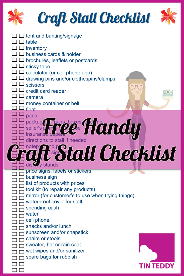 Download this free, handy checklist to help you at your next craft fair, show or other event.