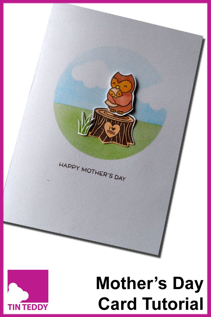 A tutorial to make a cute Mother's Day card, featuring stamps from Lawn Fawn and a fun inking technique.
