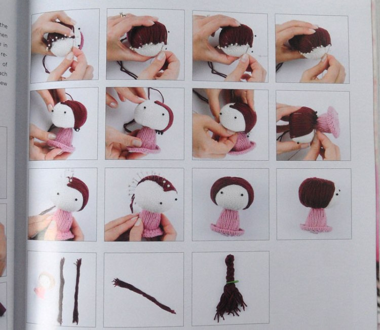 Knitted Toys by Tatyana Korobkova - creating hair