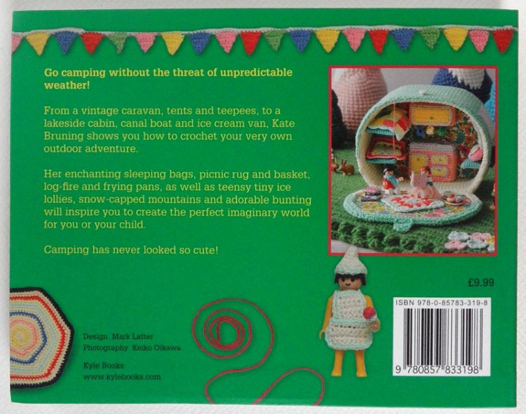 Back of Let's Go Camping, a crochet book by Kate Bruning