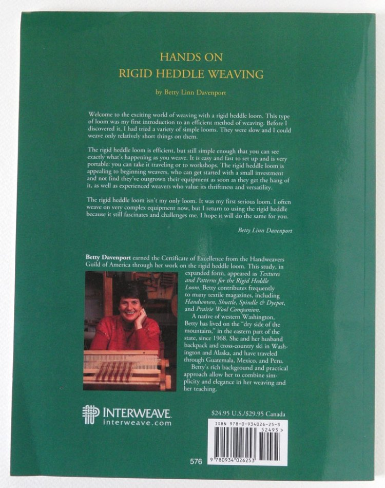 Hands On Rigid Heddle Weaving by Betty Lin Davenport - back cover