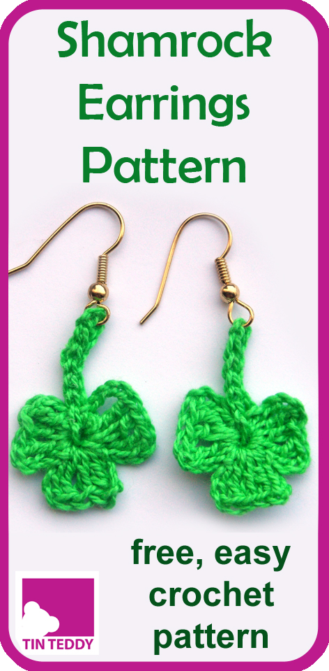 A simple and free pattern to crochet some cute Shamrock Earrings.  Includes UK and US instructions.  Ideal for newer crocheters.  Make some for St Patrick's Day. #shamrock #earrings #crochet #patterm #free #stpatricksday