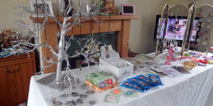 A craft stall rehearsal in a living room
