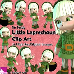 Tin Teddy Little Leprechauns Clipart