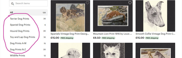 Sections in AntiqueDogPrints on Etsy
