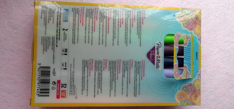 Paper Mate Flair Felt Tip Pens - Back of Box