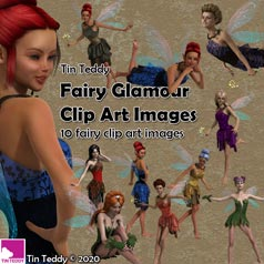 Tin Teddy Fairy Glamour Clip Art