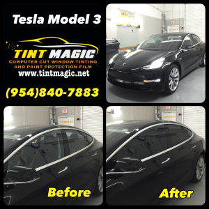 Tesla Model 3 at Tint magic Window Tinting Coral Springs
