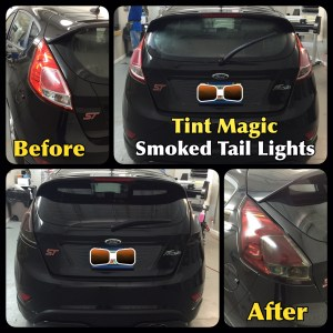 Ford Fiesta Smoked Tail Lights at Tint Magic Window Tinting