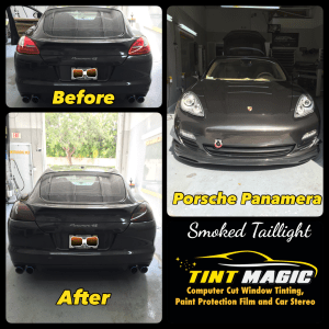 Porsche Panamera Smoked Tail Lights at Tint Magic Window Tint Coral Springs