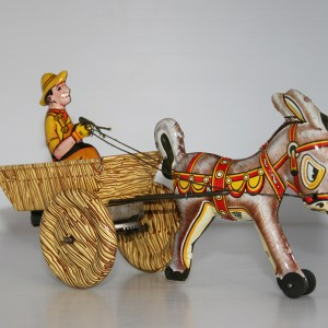 PlastiMarx México 50's La Mula Filomena, tin Farmer with cart and donkey, windup 8.50 inches (21.5 cm) original tin toy