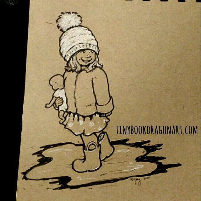 Stuck at ER for mom-in-law so inking sketches. #ink #art #sketchart #sketch  #drawing #illustration #child #doll #puddle #rainboots #toddler white #gellyroll #copic #prismacolor #strathmore #tonedpaper
