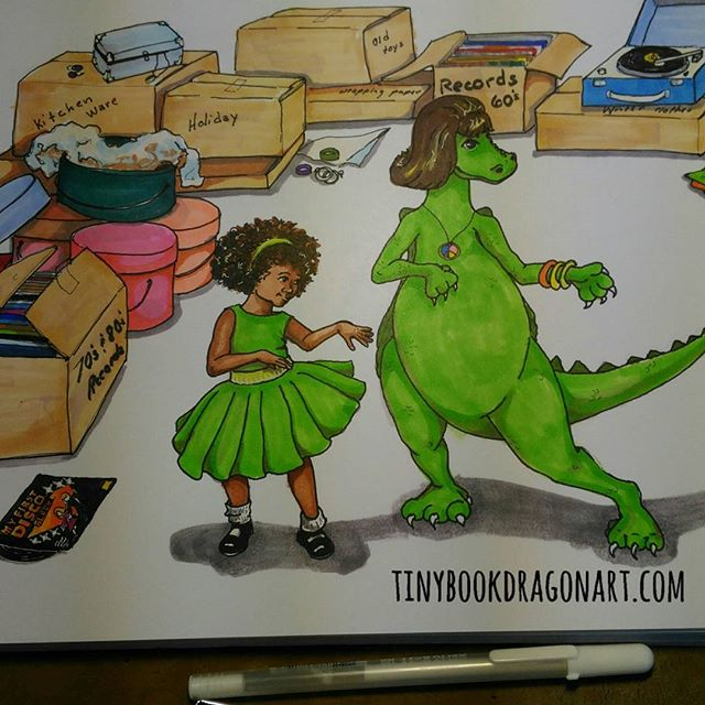 Coughing too much to draw so another repost of an illustration from my book, Dana Dreamed a Dragon. Dana and Dragon do the Watusi. .Now back to watching/listening to nature documentaries. Tell me I am not the only one who drowses to nature documentaries when sick..#art #illustration #childrensbook #picturebook #childrensrhyme #drawing #markers #blickartmaterials #blickstudio #copic #ink #kidlut #kidlitart #kidlitillustration #naturalhair #dragon #Watusi #dance #recordplayer #pretendfriend #pretendplay #grandmasattic