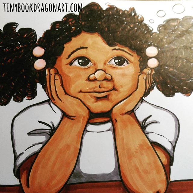 Older #illustration today because I am stuck in bed sick with plague going around here. .From the beginning of my book Dana Dreamed a Dragon. Meet Dana, a spunky little girl with an fantastic imagination. .#danadreamedadragon#drawing #copic #blickstudio #markers #naturalhair #dragonbook #childrensbook #picturebook #childrensbookillustration #kidlitart #childrensillustration #art #artist