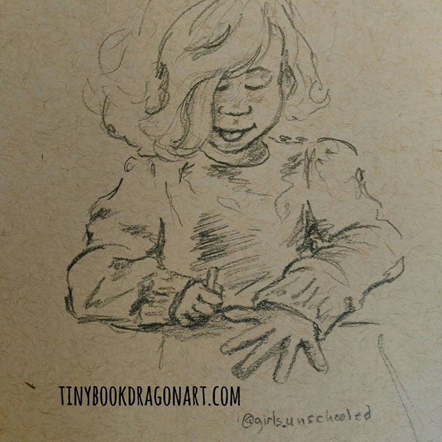 #instakids #instasketch #dailysketch inspired by @girls_unschooled .#unschooling #unschooled #drawingpractice #sketchbook #sketch #kidlitart #illustration #child #magicalchildhood #childhood #childhoodunplugged #drawing #dailydrawing #dailyart #strathmore #tonedpaper #pencil #pencilsketch