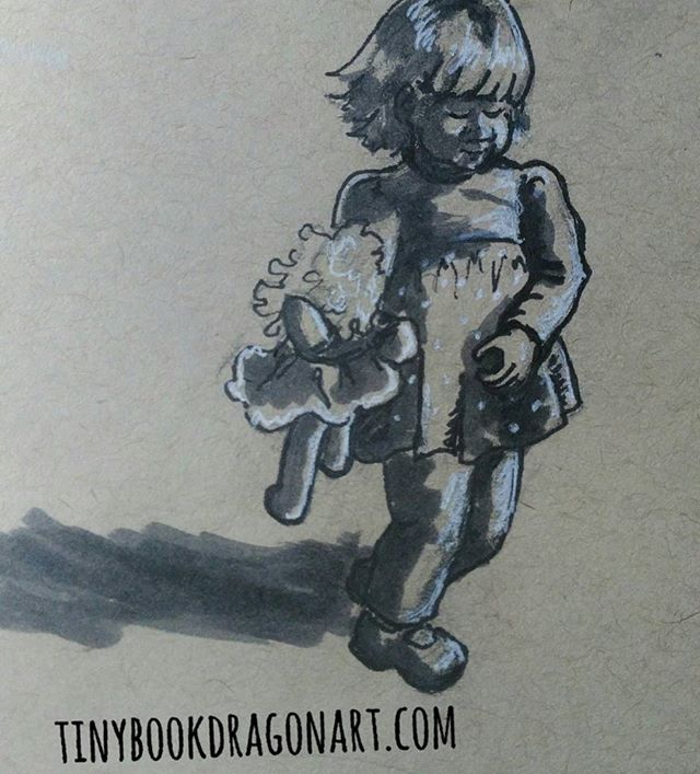 Another toddler, taking her doll for a walk.  Inspired by @the_yewtree .#drawing#art #illustration #illustrationart #kidlitart #play #magicalchildhood #childhoodunplugged #toddler #strathmore #tonedpaper #child #sketchbook #sketch